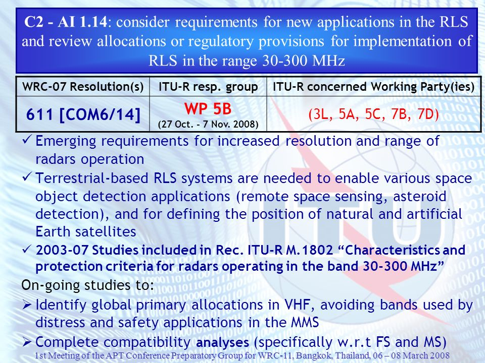 C2 - AI 1.14: consider requirements for new applications in the RLS and review allocations or regulatory provisions for implementation of RLS in the range 30‑300 MHz
