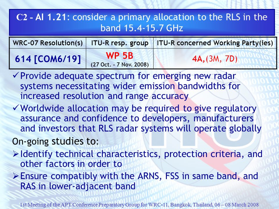 C2 - AI 1. 21: consider a primary allocation to the RLS in the band 15