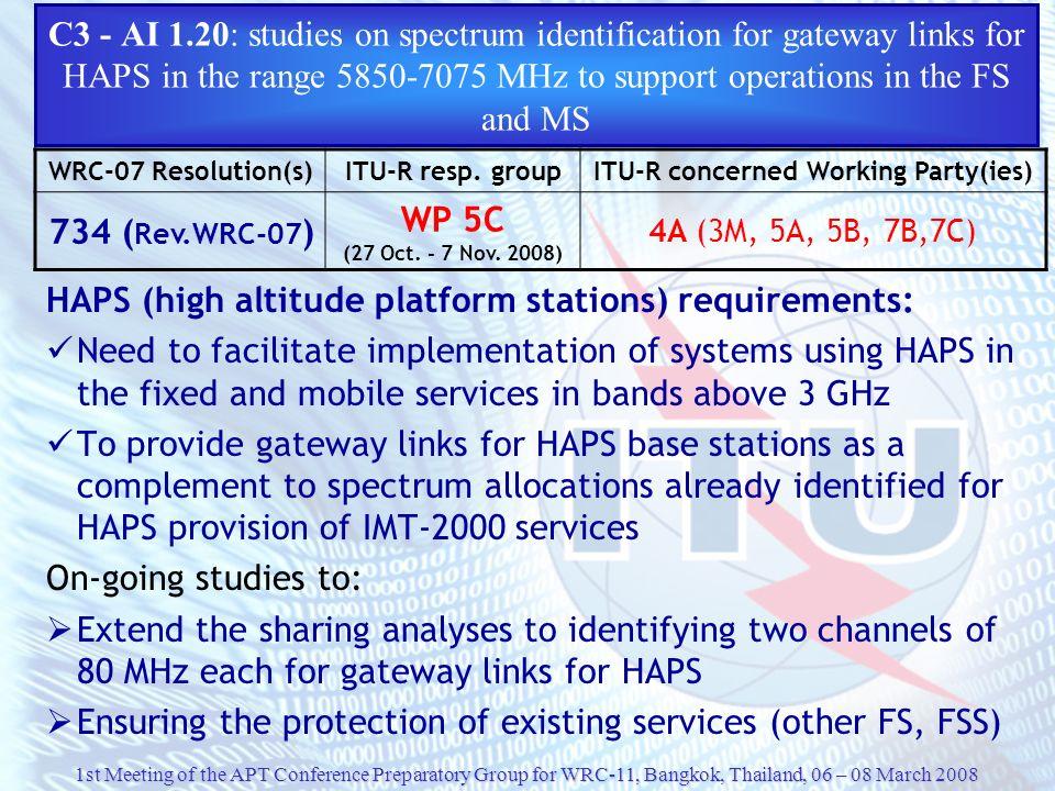 HAPS (high altitude platform stations) requirements: