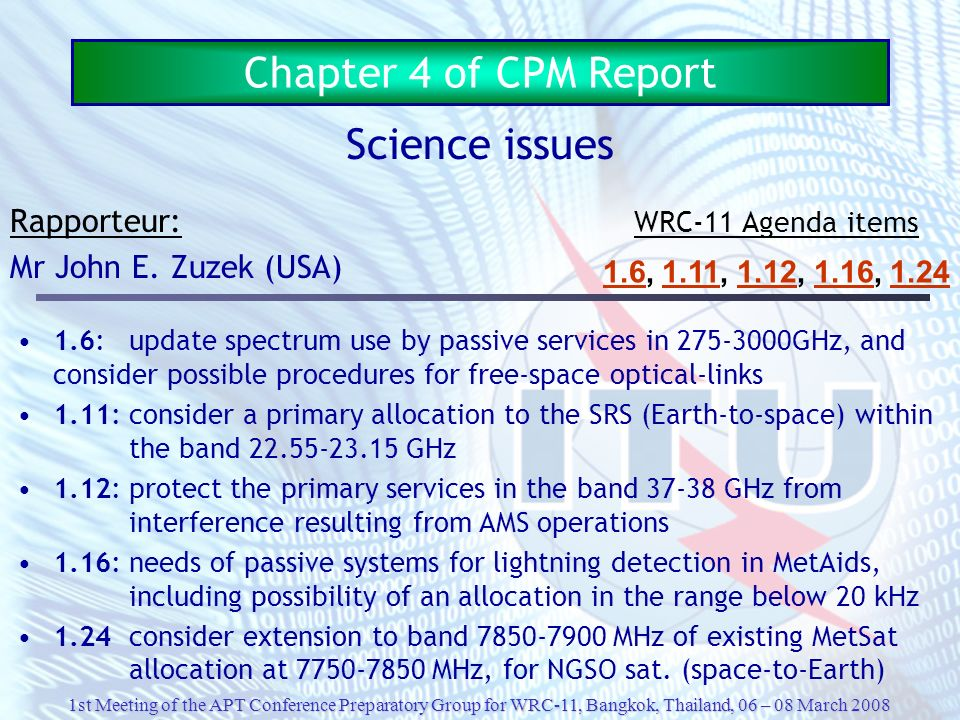 Chapter 4 of CPM Report Science issues Rapporteur: