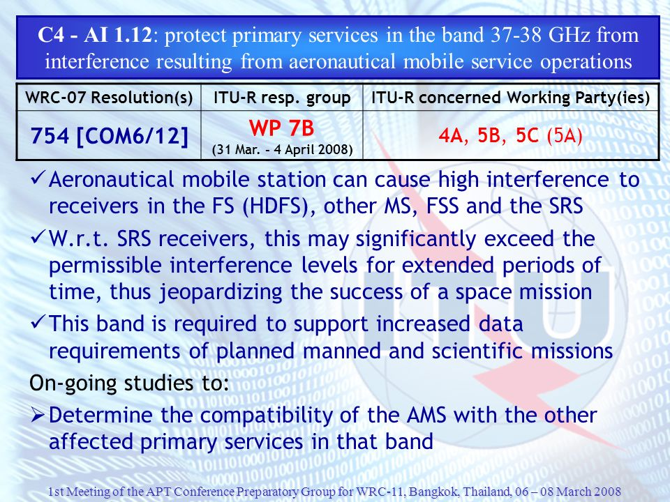 C4 - AI 1.12: protect primary services in the band 37-38 GHz from interference resulting from aeronautical mobile service operations