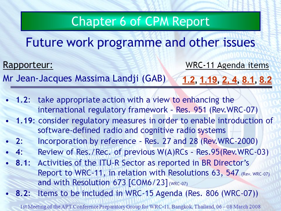Future work programme and other issues