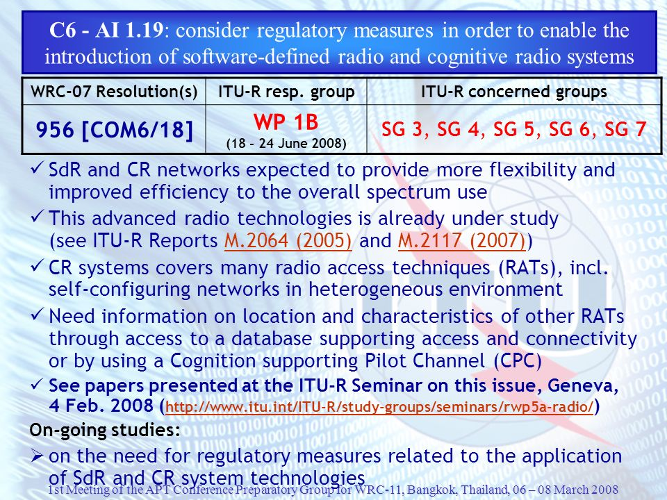 C6 - AI 1.19: consider regulatory measures in order to enable the introduction of software-defined radio and cognitive radio systems