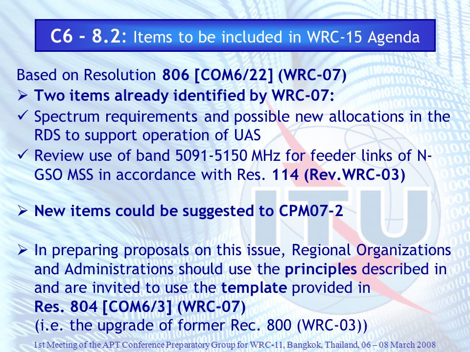 C6 - 8.2: Items to be included in WRC-15 Agenda