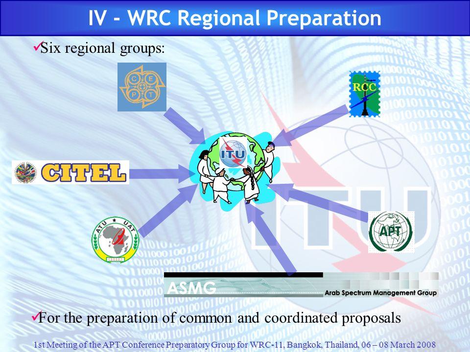 IV - WRC Regional Preparation