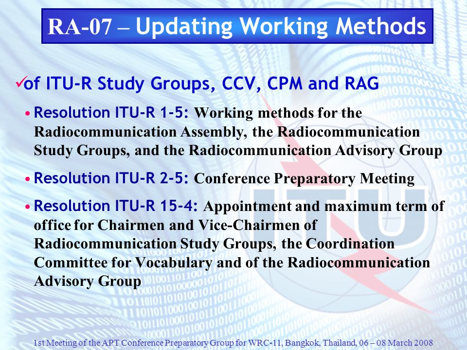 RA-07 – Updating Working Methods