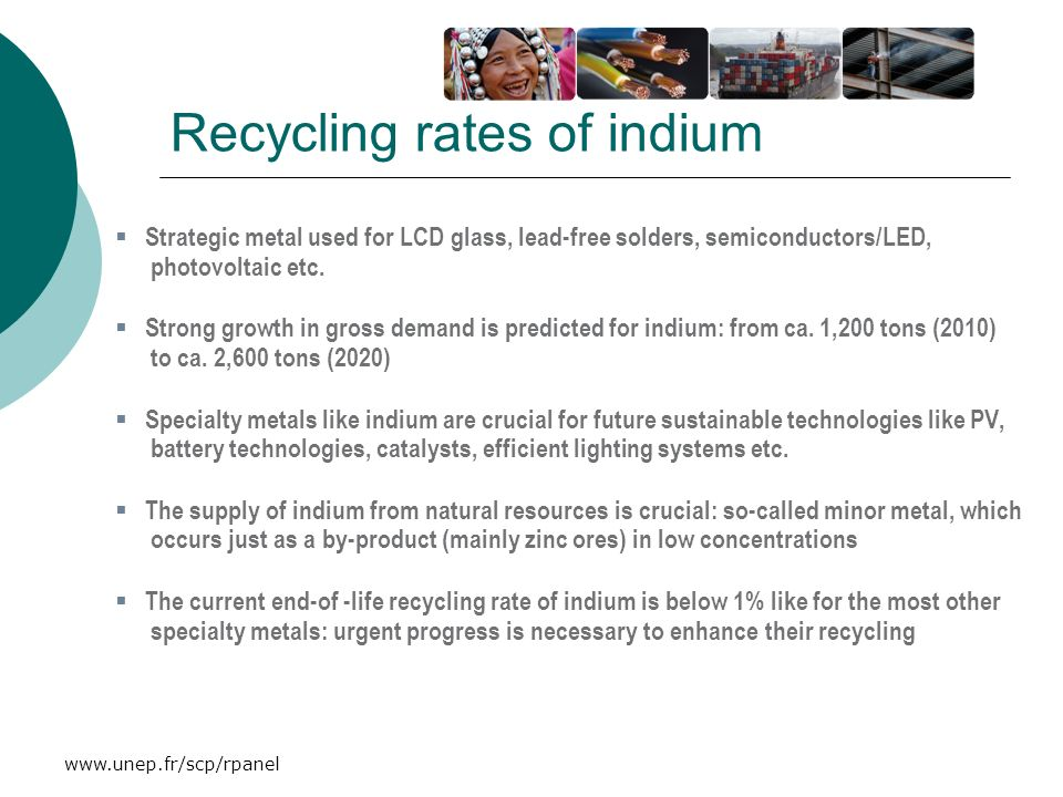 Recycling rates of indium