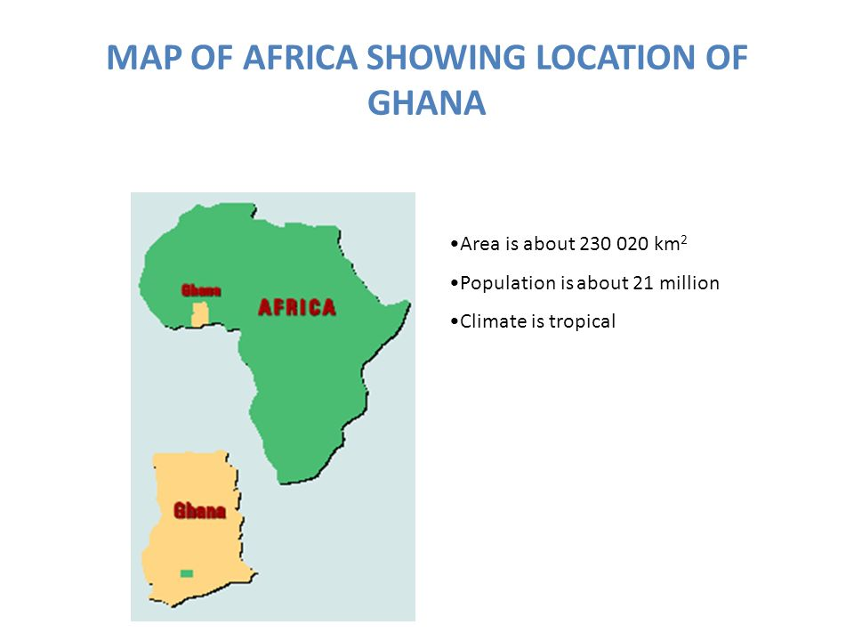 MAP OF AFRICA SHOWING LOCATION OF GHANA