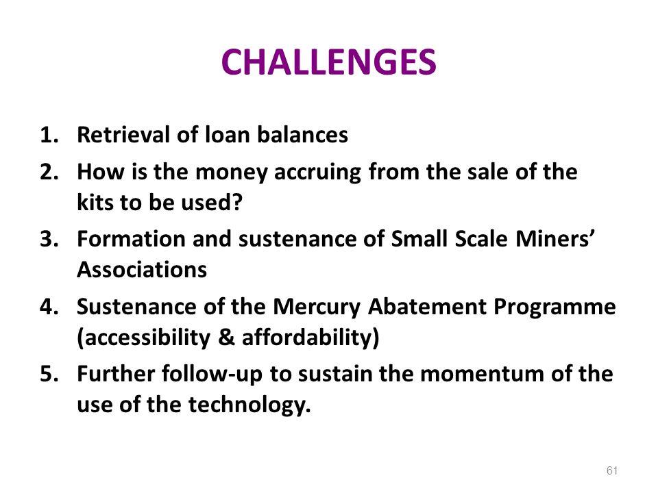 CHALLENGES Retrieval of loan balances