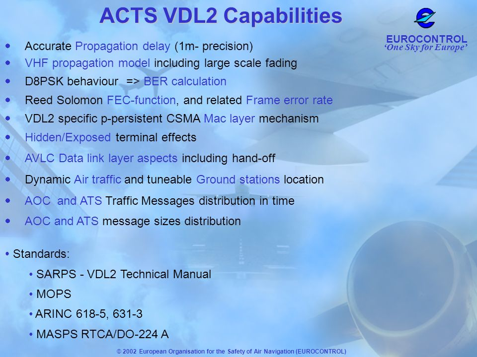 ACTS VDL2 Capabilities Standards:
