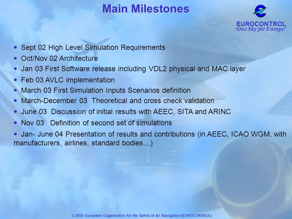 Main Milestones Sept 02 High Level Simulation Requirements