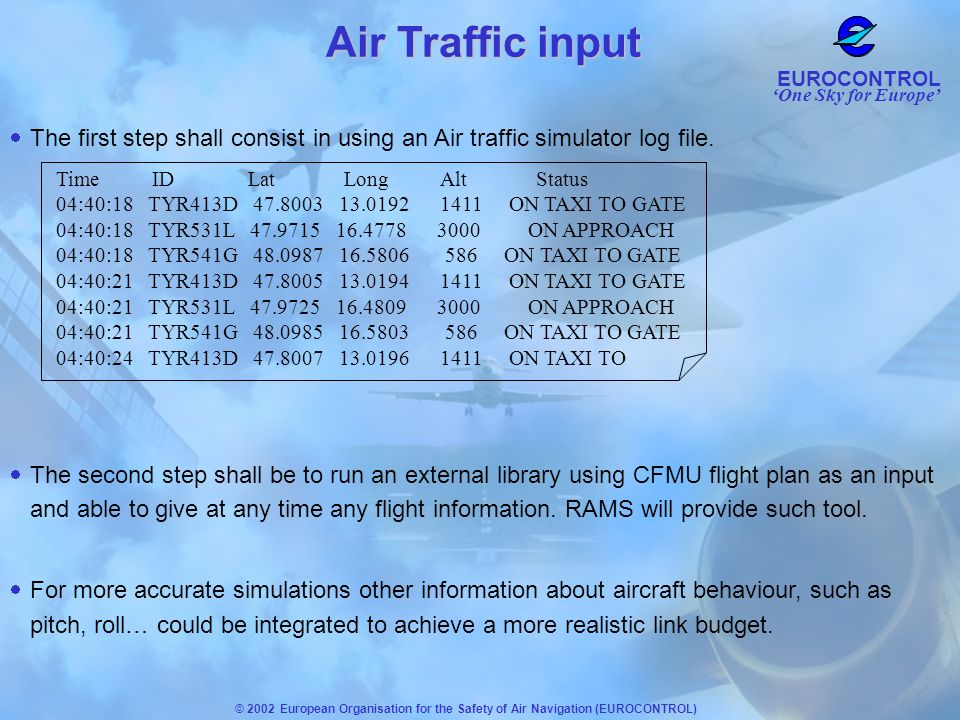 Air Traffic input The first step shall consist in using an Air traffic simulator log file. Time ID Lat Long Alt Status.