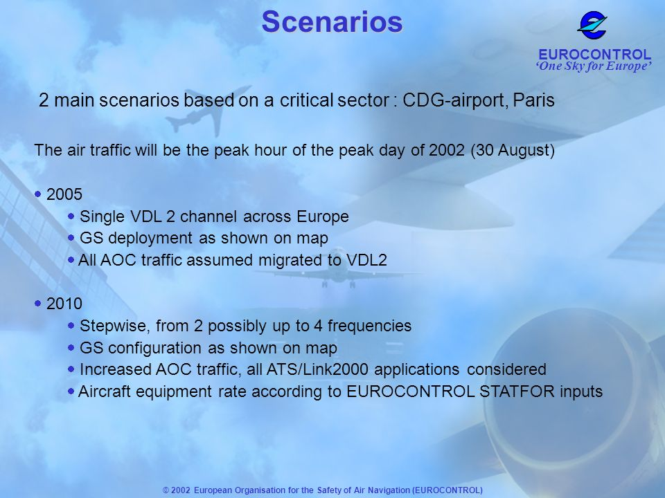 Scenarios2 main scenarios based on a critical sector : CDG-airport, Paris. The air traffic will be the peak hour of the peak day of 2002 (30 August)