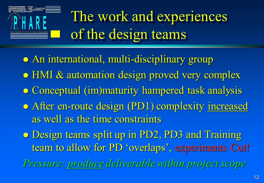 The work and experiences of the design teams