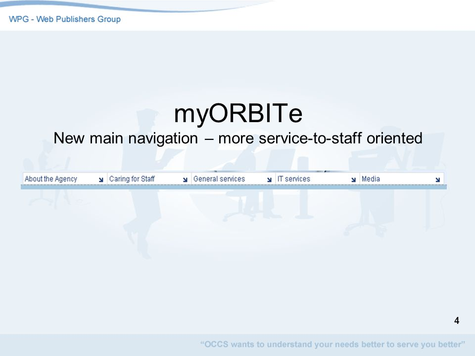 myORBITe New main navigation – more service-to-staff oriented