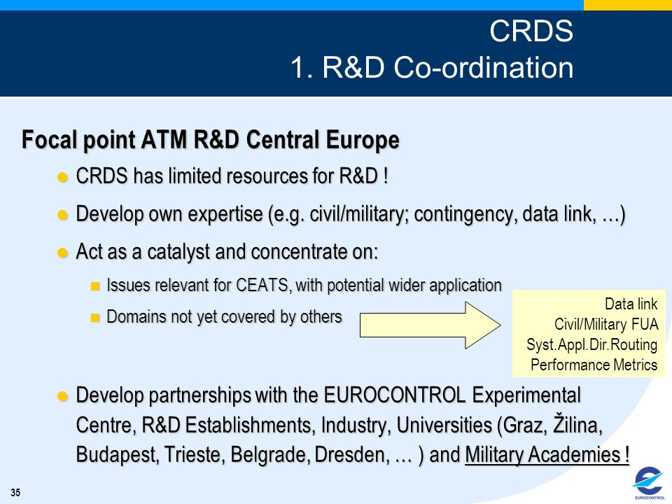 CRDS 1. R&D Co-ordination Focal point ATM R&D Central Europe