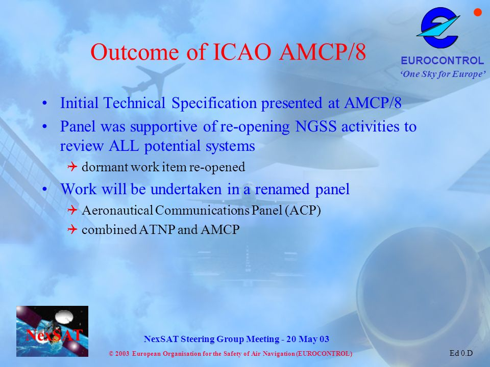 Outcome of ICAO AMCP/8 Initial Technical Specification presented at AMCP/8.
