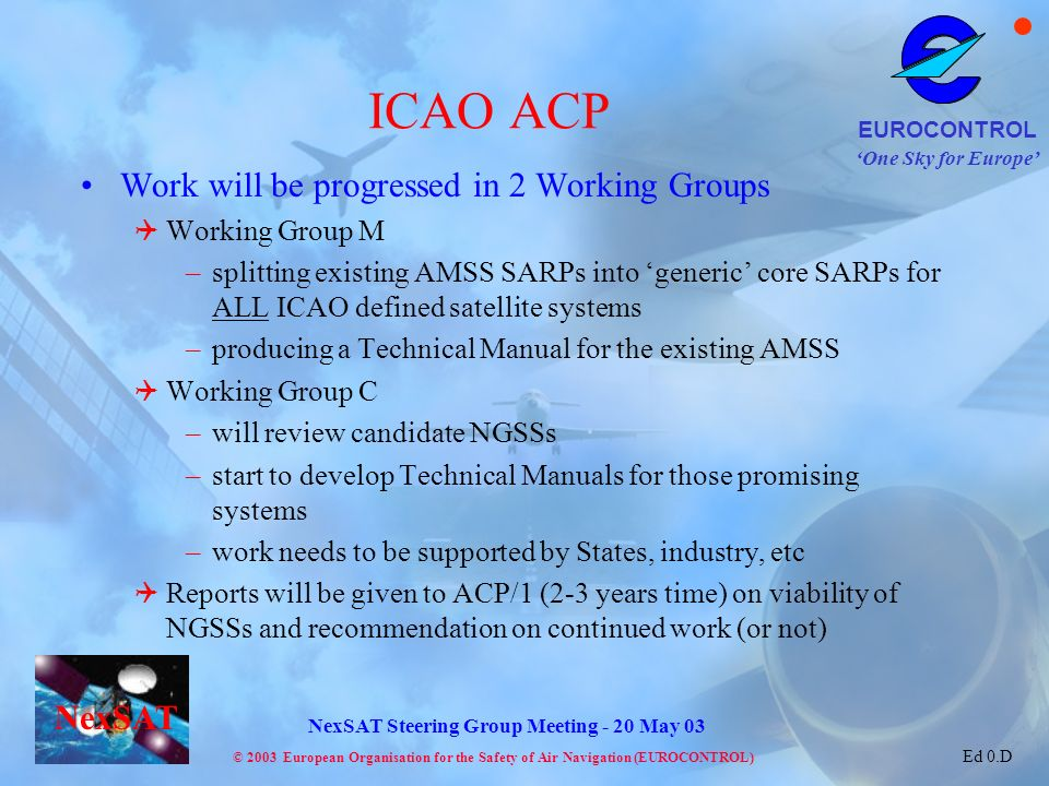 ICAO ACP Work will be progressed in 2 Working Groups Working Group M