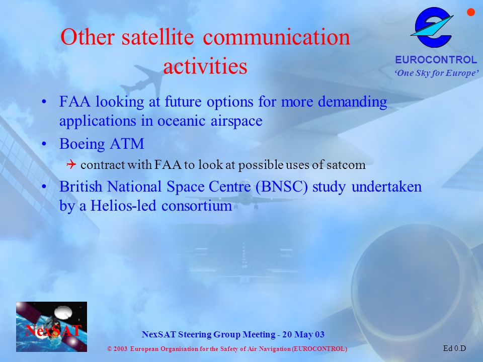 Other satellite communication activities