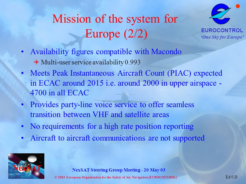 Mission of the system for Europe (2/2)