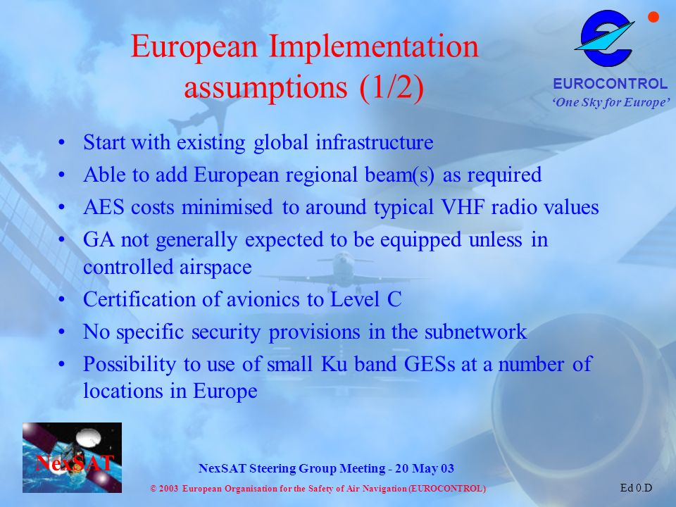 European Implementation assumptions (1/2)