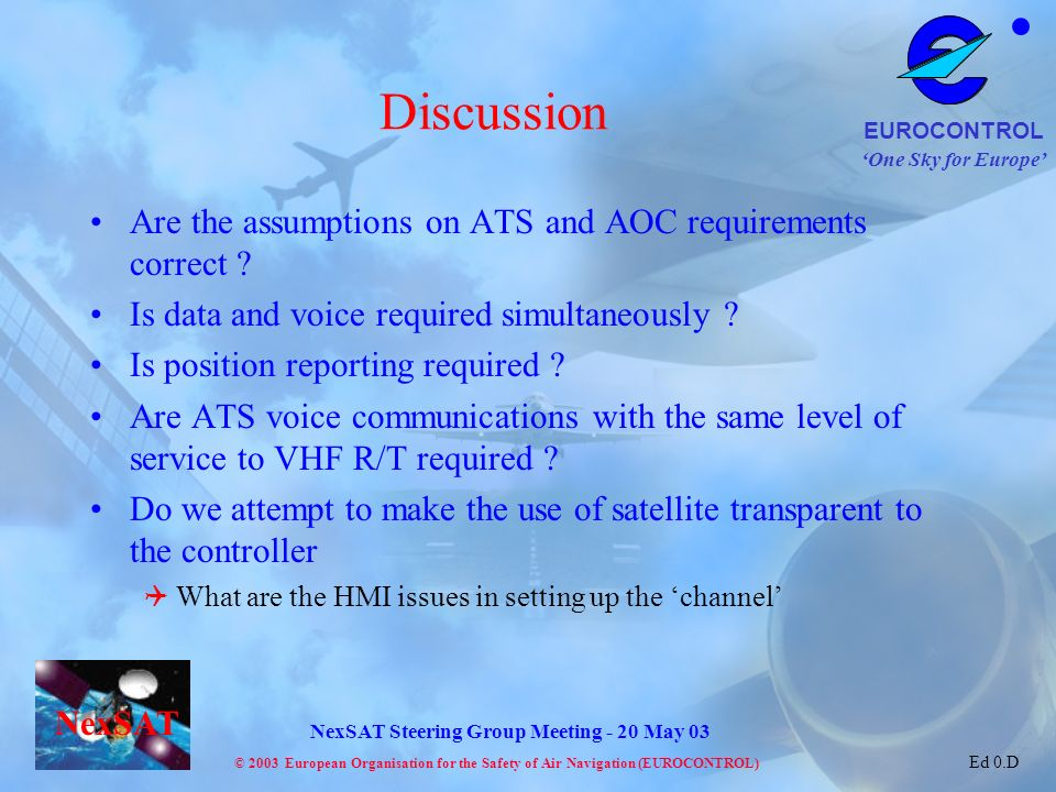 Discussion Are the assumptions on ATS and AOC requirements correct