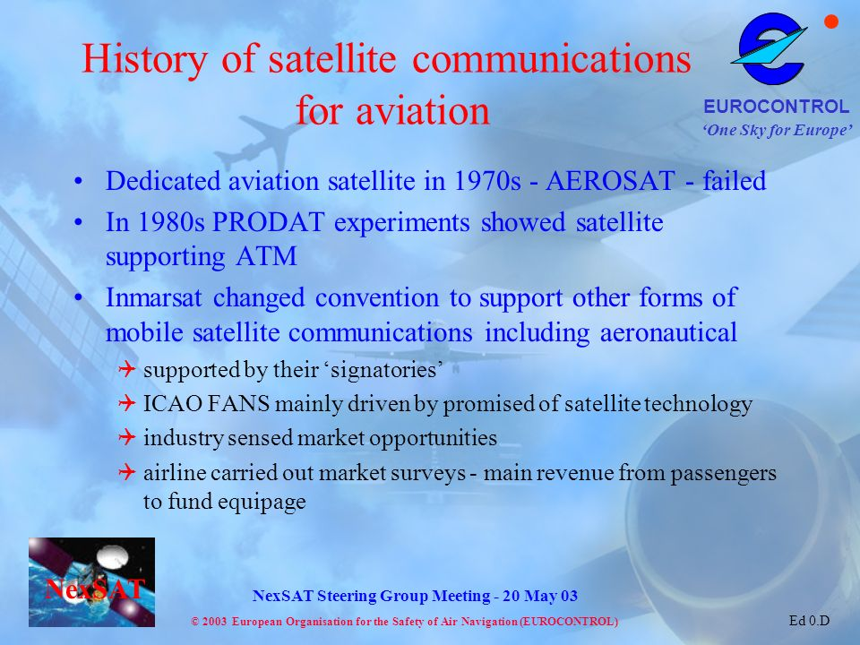 History of satellite communications for aviation