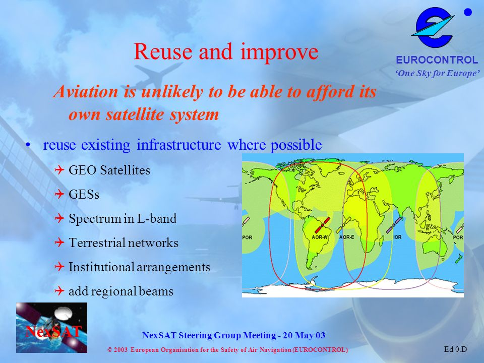Reuse and improve Aviation is unlikely to be able to afford its own satellite system. reuse existing infrastructure where possible.