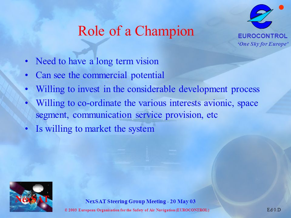 Role of a Champion Need to have a long term vision