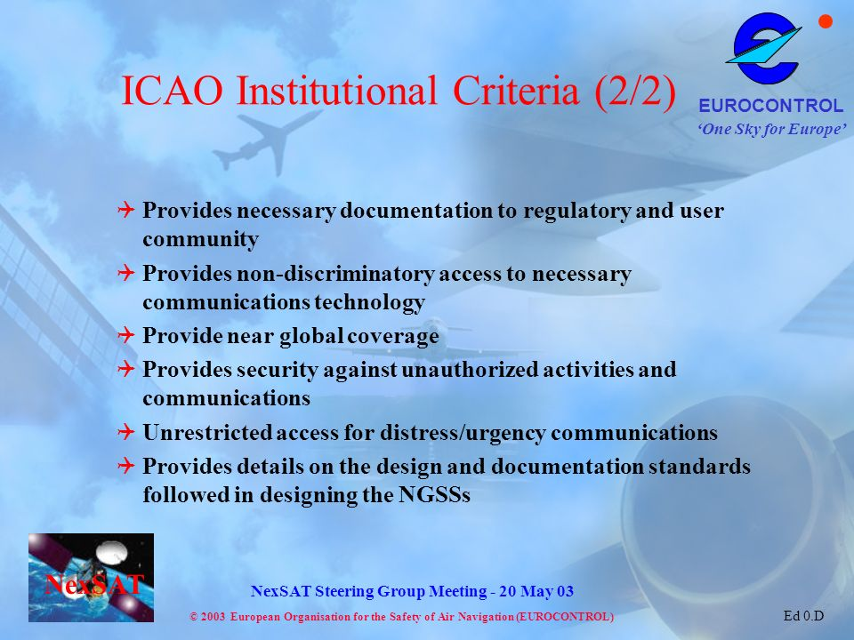 ICAO Institutional Criteria (2/2)