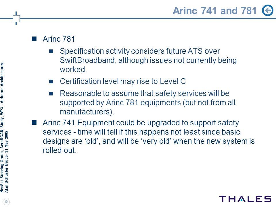 Arinc 741 and 781 NexSat Steering Group, AeroBGAN Study, WP3 - Airborne Architectures, Alan Schuster Bruce- 31 May 2005.