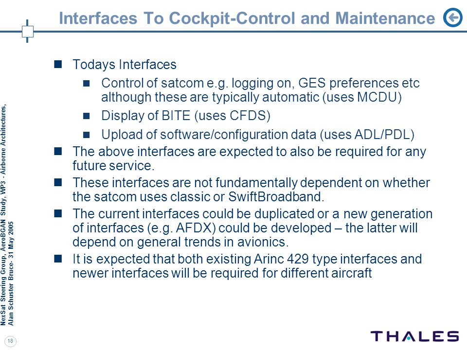 Interfaces To Cockpit-Control and Maintenance