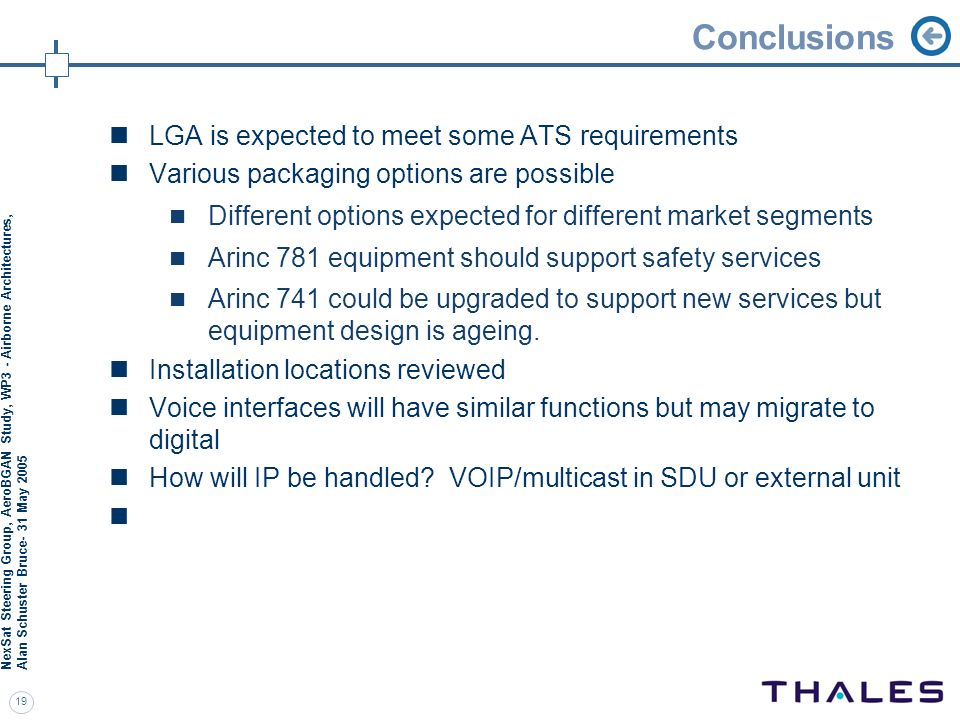 Conclusions LGA is expected to meet some ATS requirements