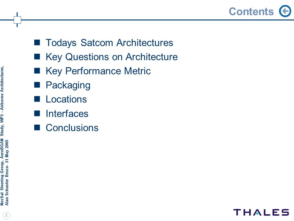 Contents Todays Satcom Architectures Key Questions on Architecture