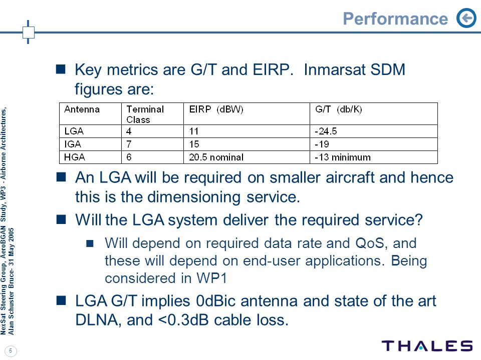 Performance Key metrics are G/T and EIRP. Inmarsat SDM figures are: