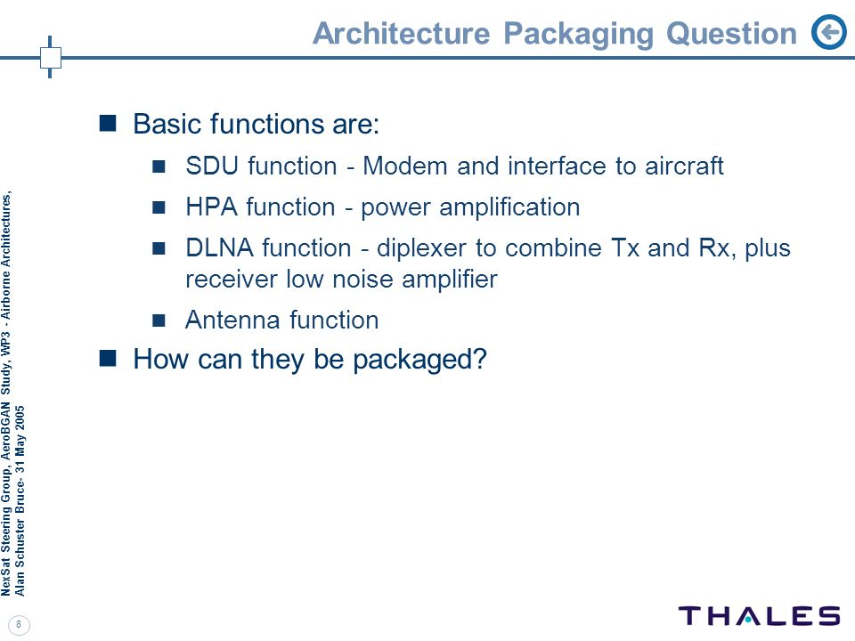 Architecture Packaging Question