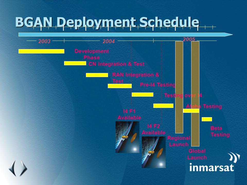 BGAN Deployment Schedule