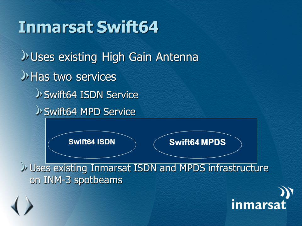 Inmarsat Swift64 Uses existing High Gain Antenna Has two services