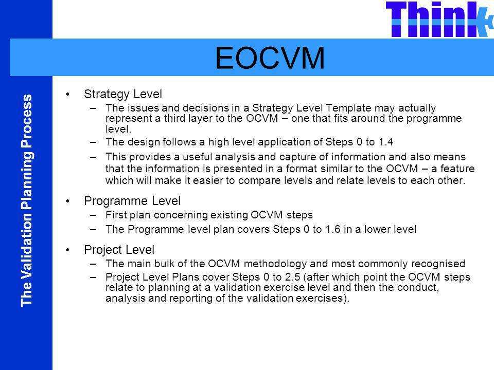 EOCVM Strategy Level Programme Level Project Level