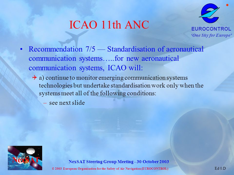 ICAO 11th ANC Recommendation 7/5 — Standardisation of aeronautical communication systems…..for new aeronautical communication systems, ICAO will: