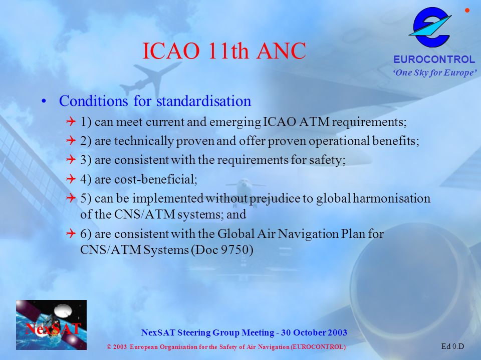 ICAO 11th ANC Conditions for standardisation