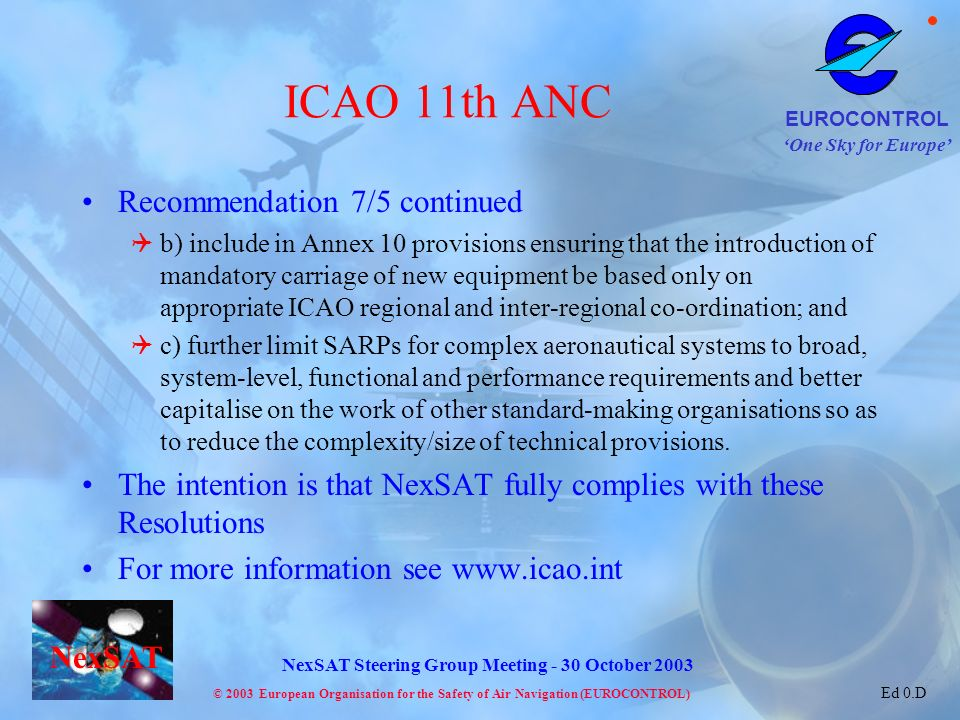 ICAO 11th ANC Recommendation 7/5 continued
