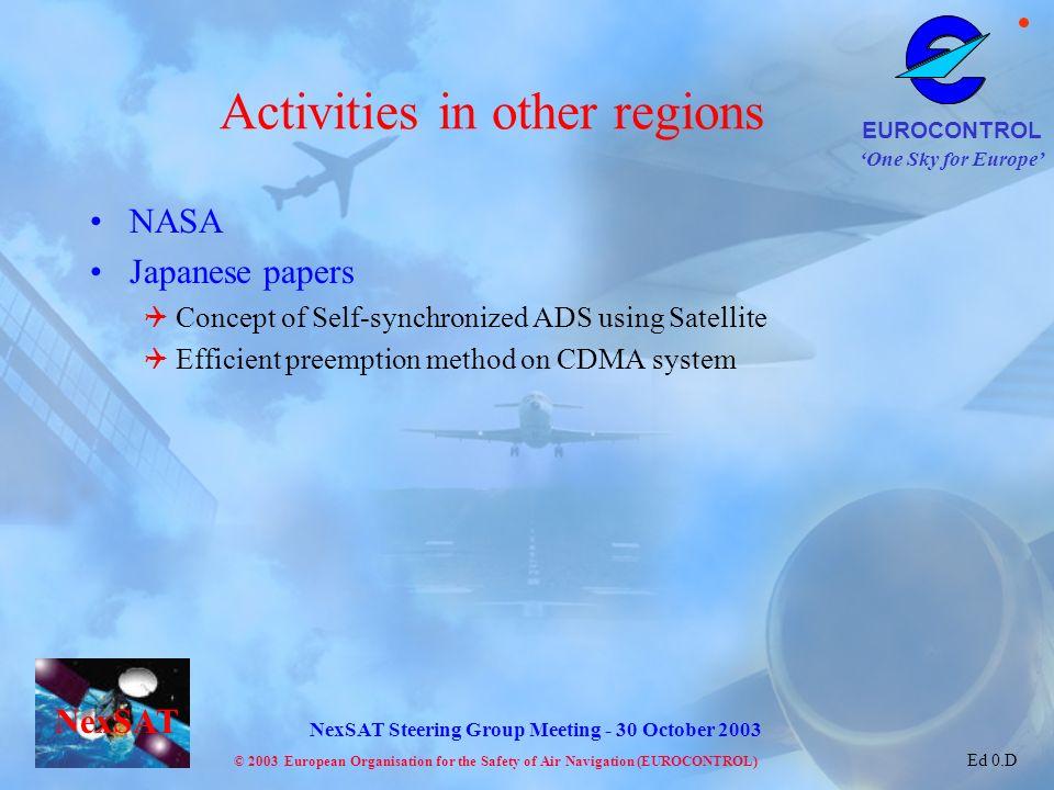 Activities in other regions