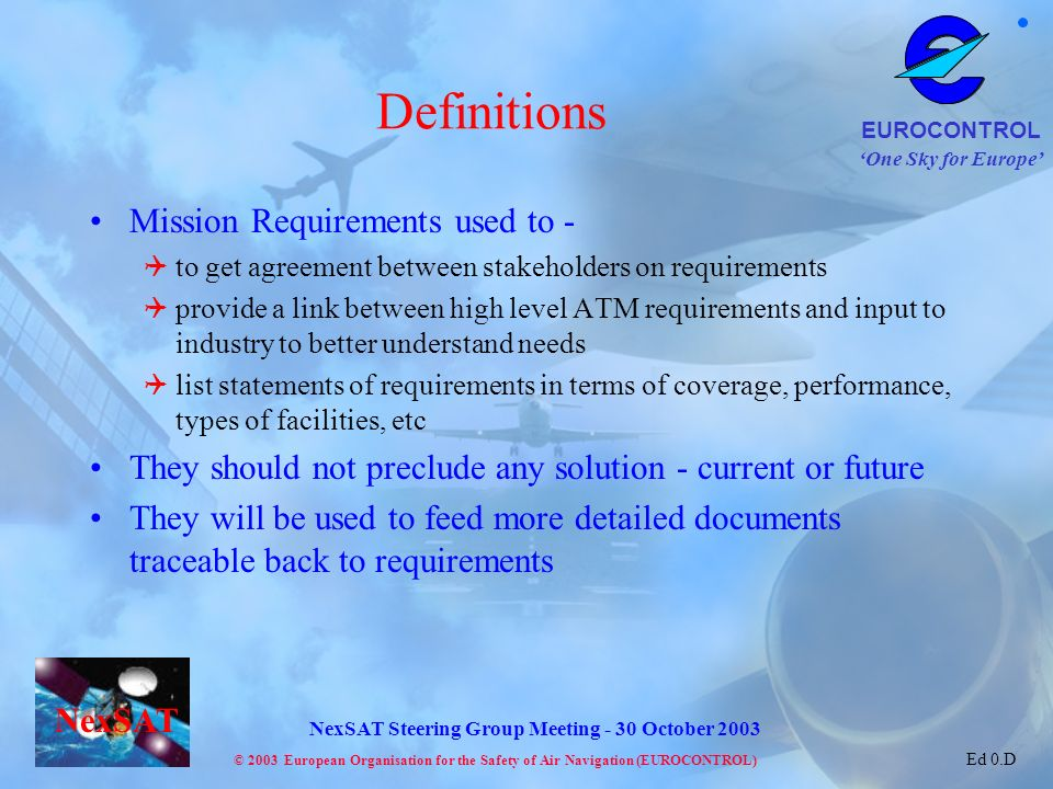 Definitions Mission Requirements used to -