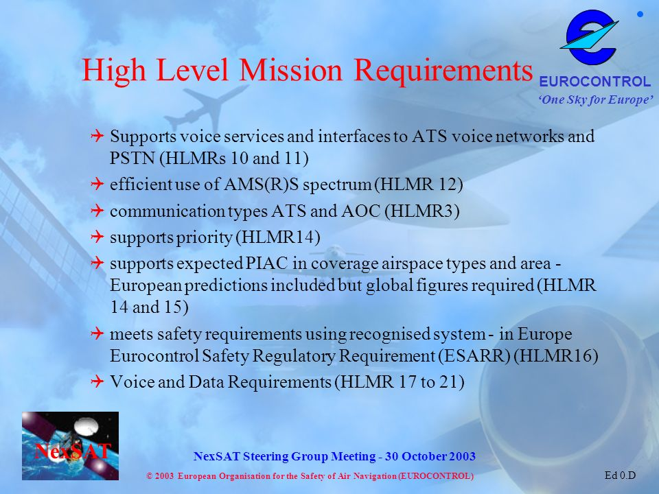 High Level Mission Requirements