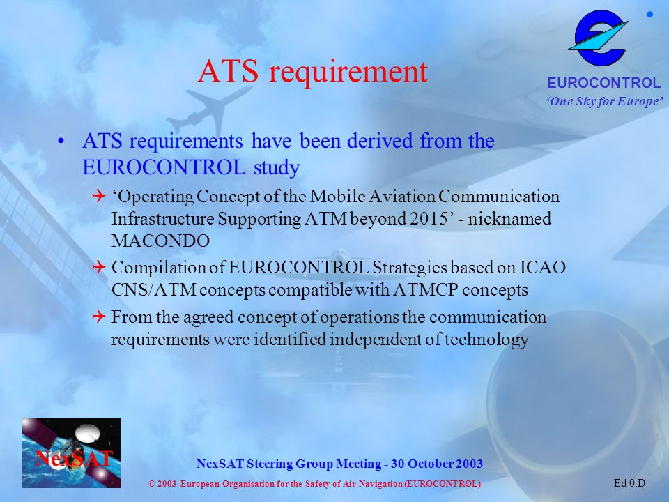 ATS requirement ATS requirements have been derived from the EUROCONTROL study.