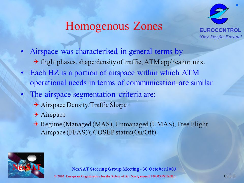 Homogenous Zones Airspace was characterised in general terms by
