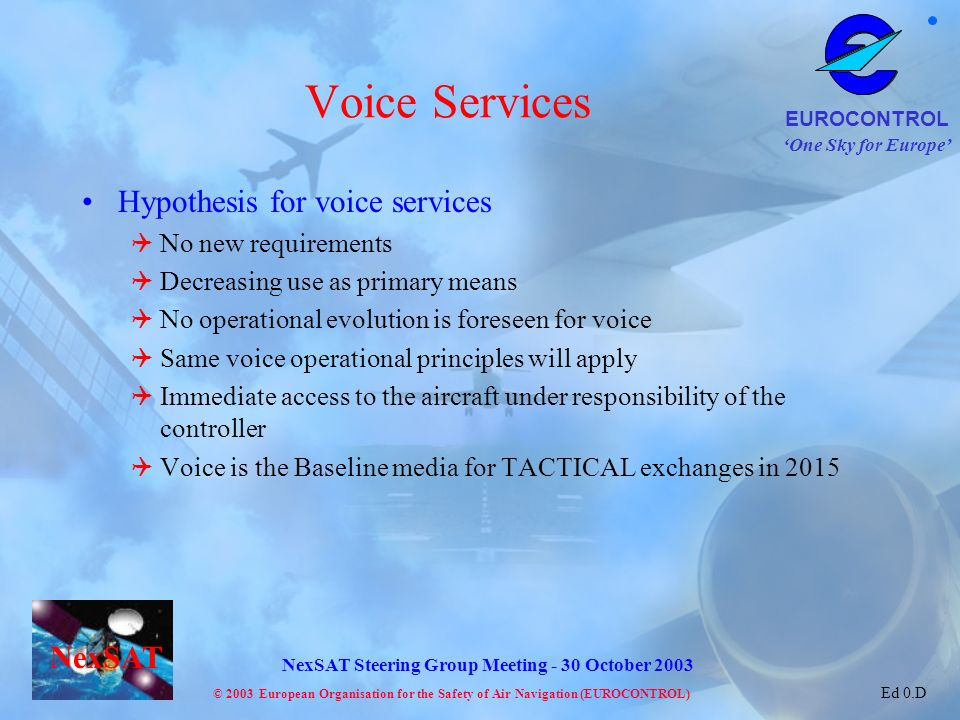 Voice Services Hypothesis for voice services No new requirements