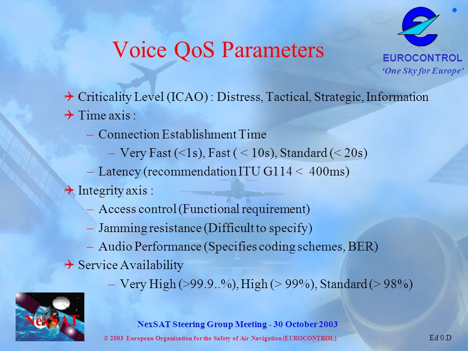 Voice QoS Parameters Criticality Level (ICAO) : Distress, Tactical, Strategic, Information. Time axis :