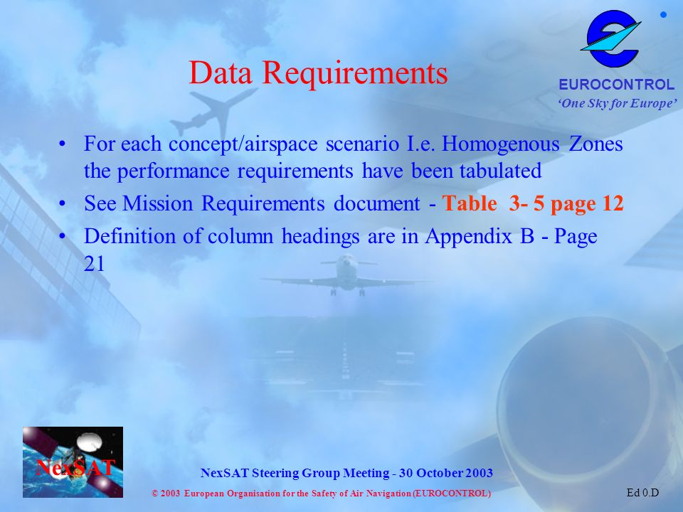 Data Requirements For each concept/airspace scenario I.e. Homogenous Zones the performance requirements have been tabulated.